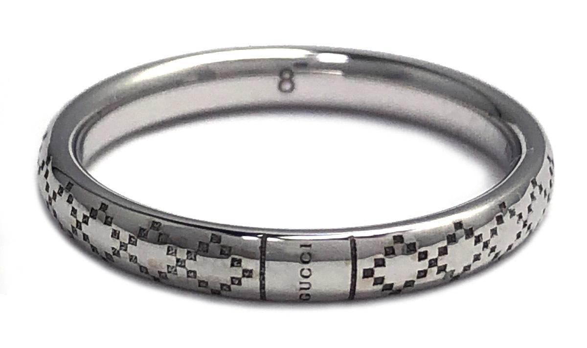 グッチ ディアマンティッシマ リング 8 指輪 ホワイトゴールド 750WG K18 18金 ディアマンテ シルバー 結婚指輪 美品 レディース K18WG GUCCI 【中古】
