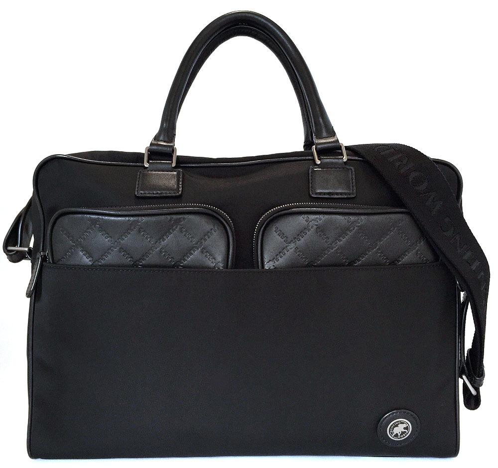 ハンティングワールド 2WAY ブリーフケース ビジネスバッグ 書類かばん ブラック 黒 メンズ 紳士用 ナイロン 書類鞄 HUNTING WORLD ハンティング・ワールド【中古】