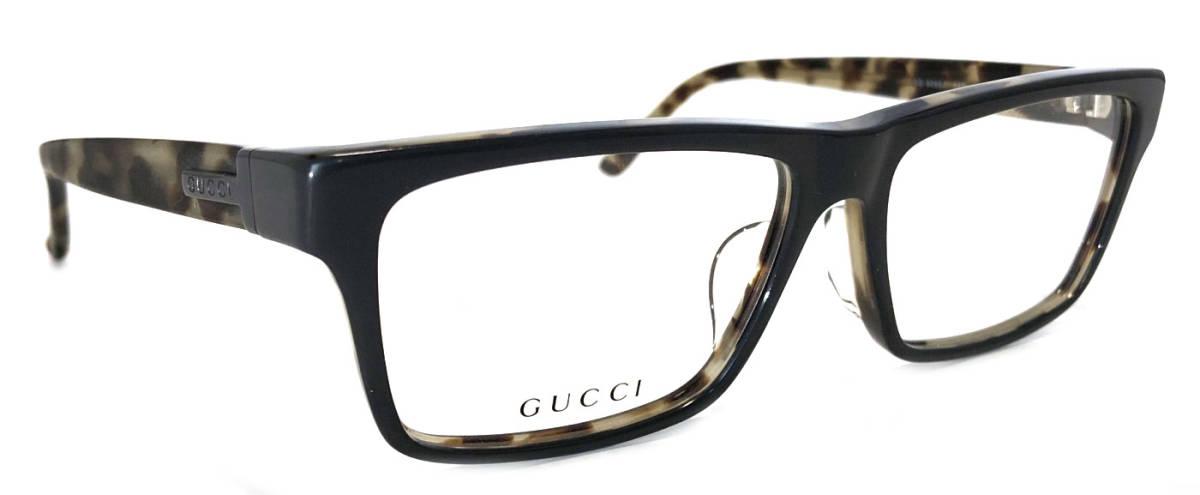 未使用 グッチ メガネフレーム GG9085J 眼鏡 めがね べっ甲調 グレー 艶消し マット 伊達メガネ眼鏡フレーム めがねフレーム メンズ レディース GUCCI 【中古】