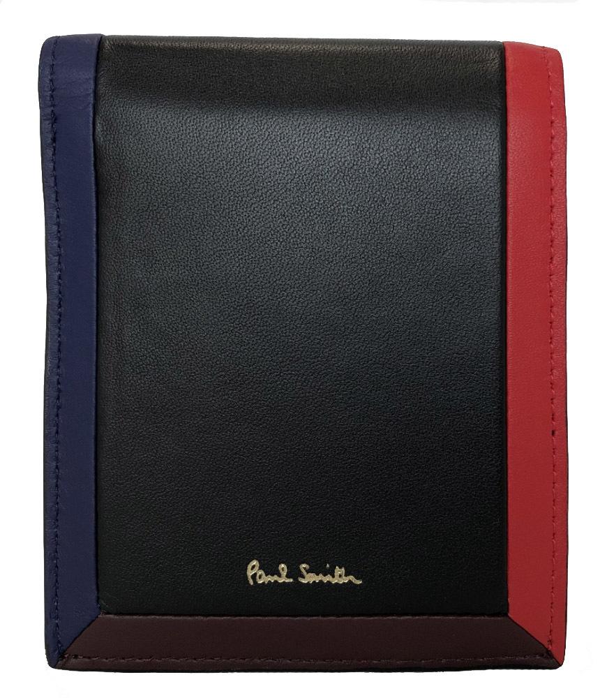 未使用 ポールスミス 財布 SPC316 レザー ブラック レッド ブルー ボルドー ラムスキン メンズ 紳士用 ロゴ 二つ折り財布 二つ折り Paul Smith 【中古】