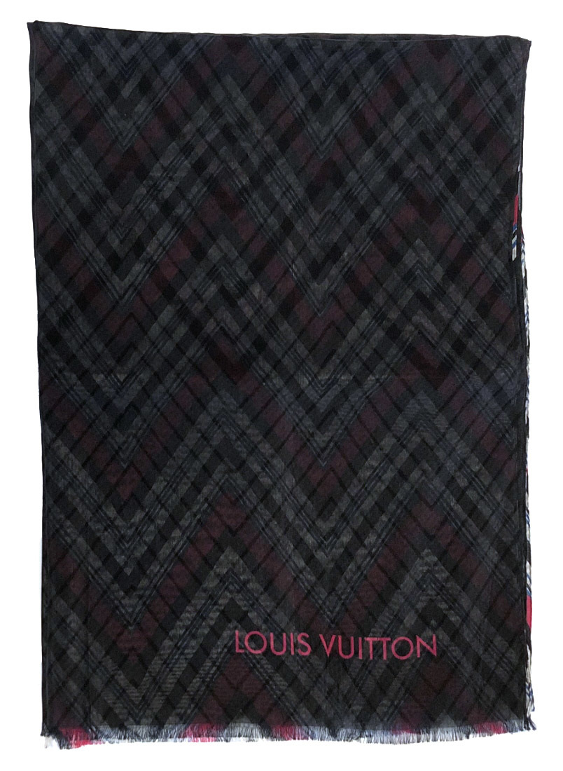 ルイヴィトン ストール エトール カラコラム MP1531 シルク コットン ロゴ ショール スカーフ ブラック ピンク LV ルイ・ビトン ルイ・ヴィトン ルイビトン LOUIS VUITTON 【中古】