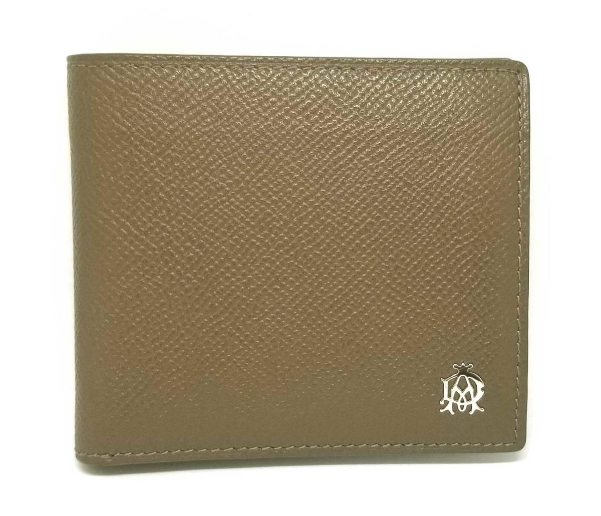ダンヒル 財布 二つ折り レザー ボードン 型押し レザー 本革 BOURDON メンズ コインケースあり dunhill 美品  【中古】