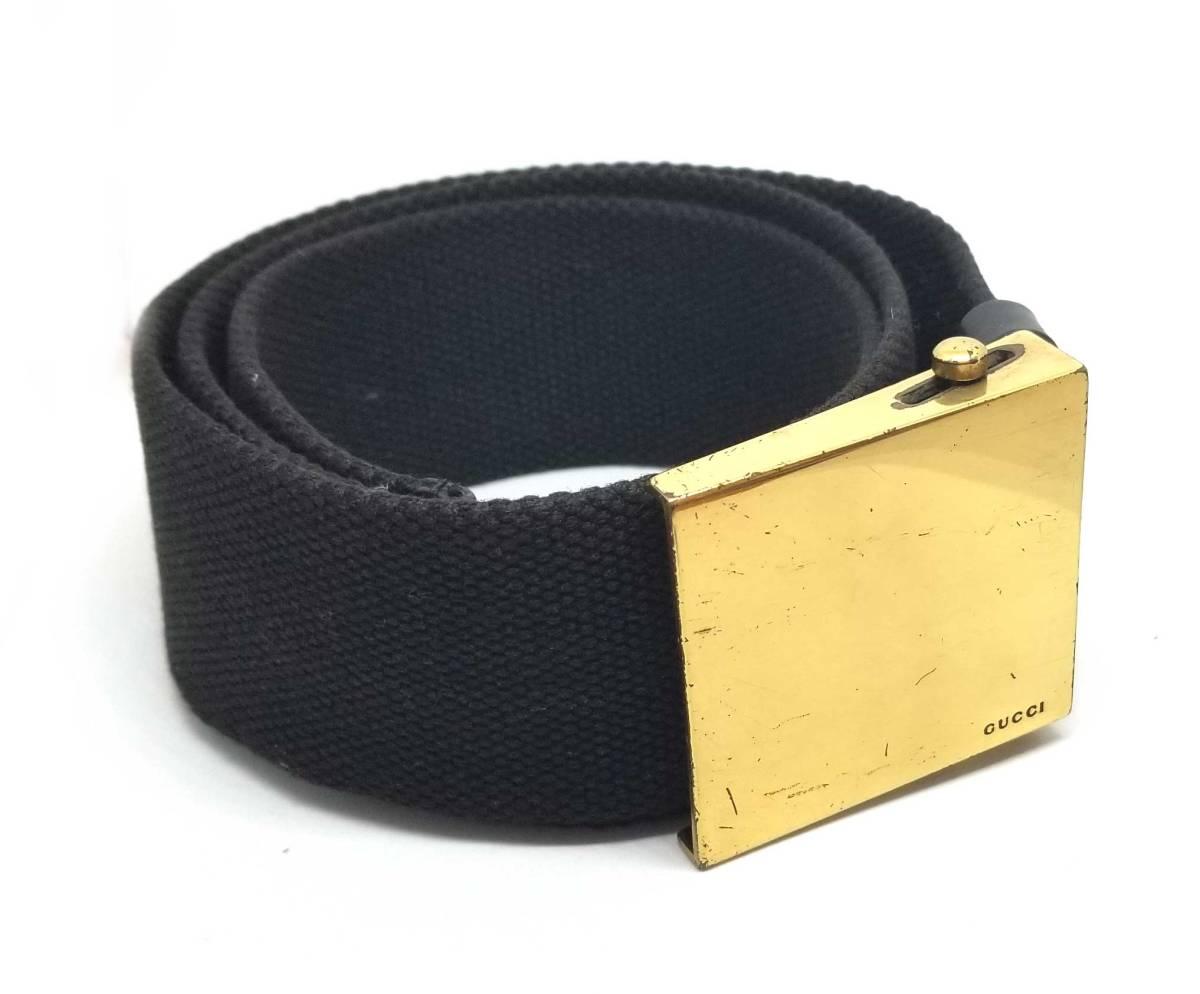 グッチ ベルト ガチャベルト キャンバス ガチャ ブラック ゴールド ロゴ 94146 GUCCI メンズ レディース 【中古】