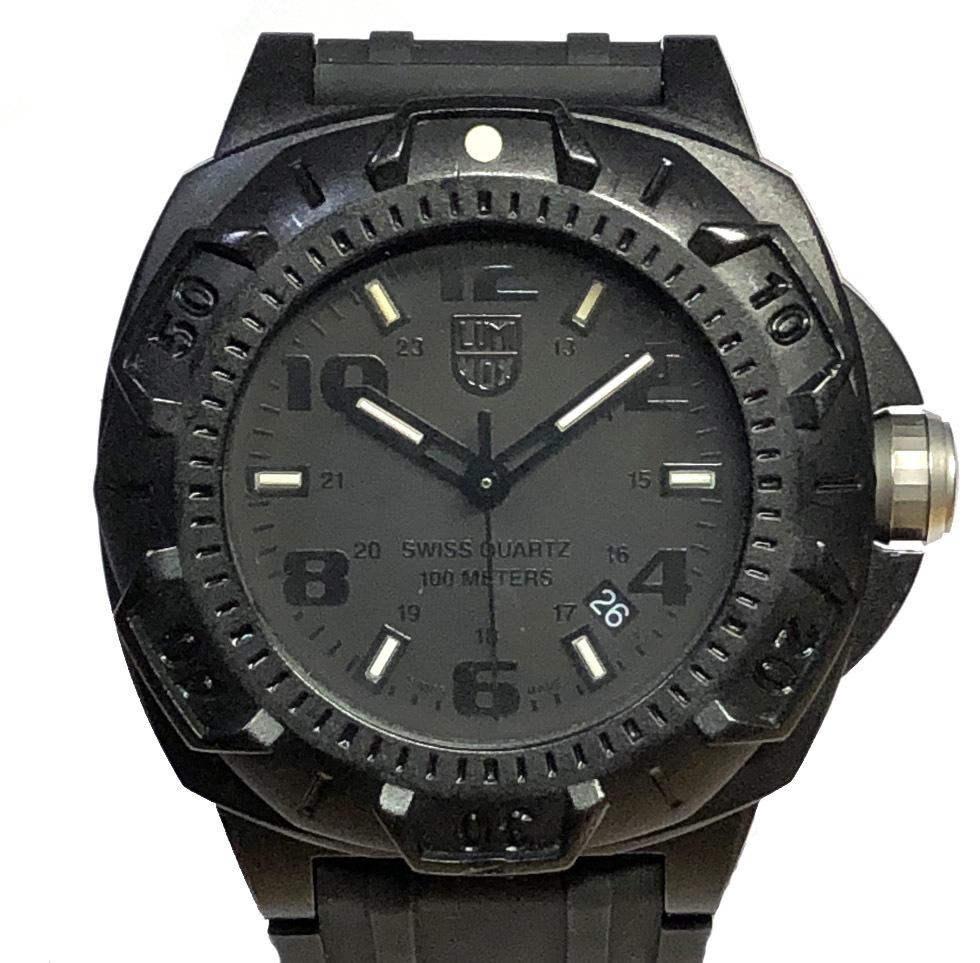 ルミノックス 腕時計 SENTRY 0200シリーズ 0201 時計 ブラックアウト クォーツ 純正 ラバーベルト Ref.0201BO メンズ 紳士用 美品 メンズウォッチ LUMINOX 【中古】