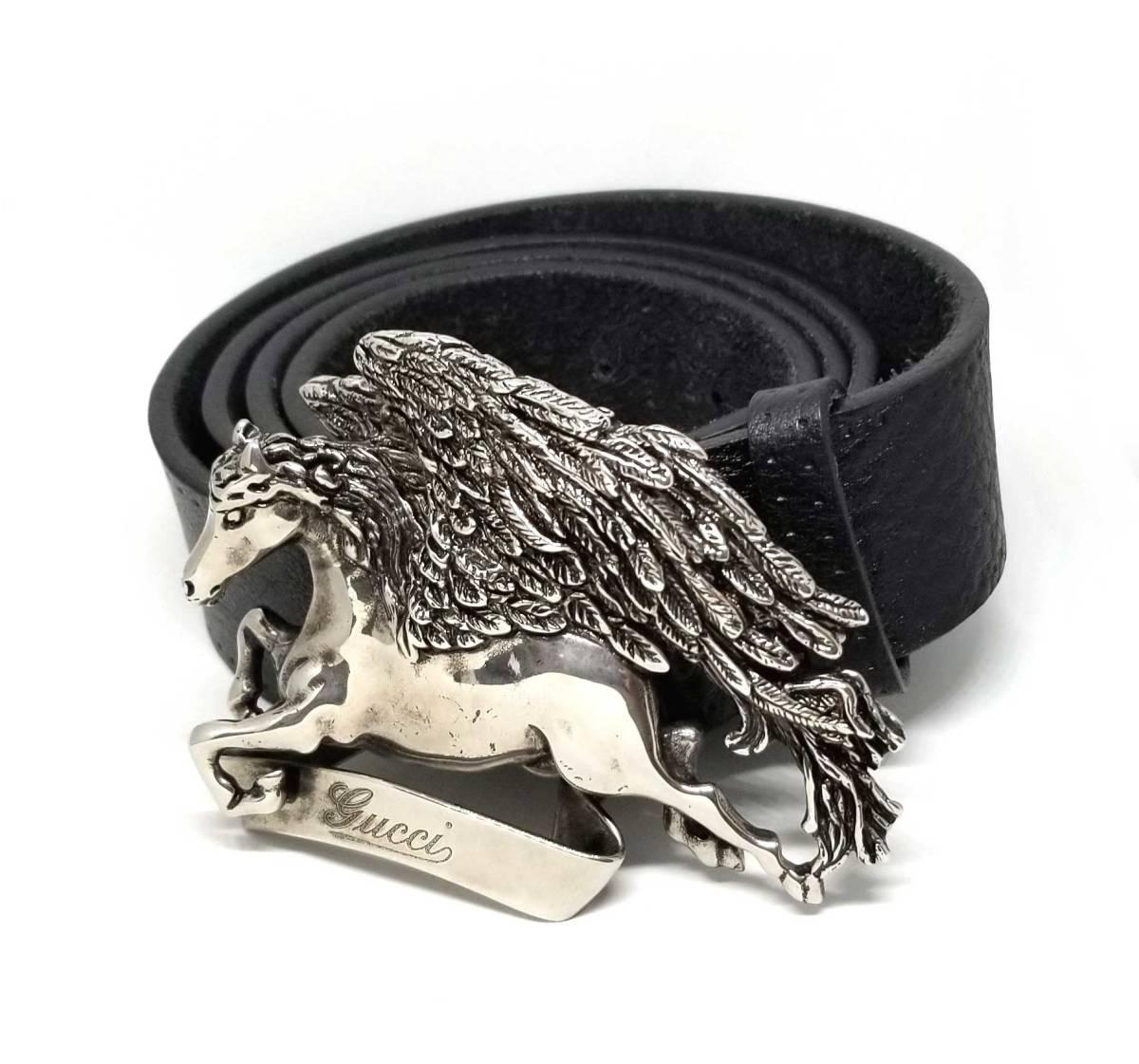 グッチ ベルト ペガサス レザー 256262 ブラック 110cm 型押し メタル 革ベルト メンズ 紳士用 GUCCI 【中古】