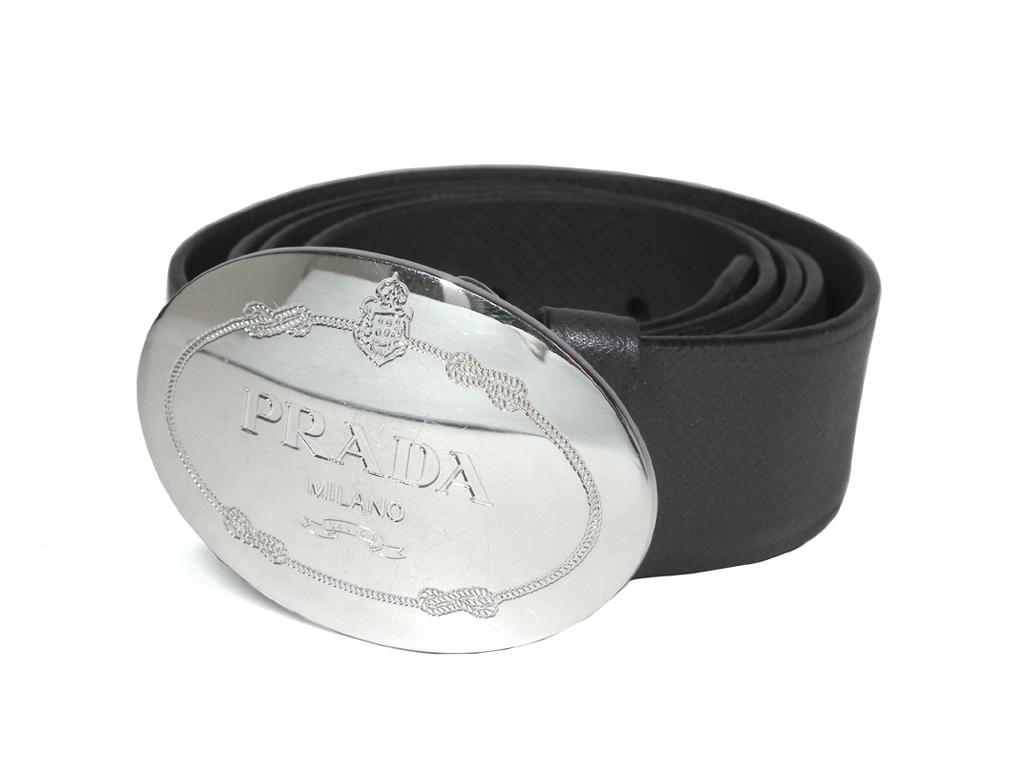 プラダ ベルト オーバル ロゴバックル シルバー グレー 型押し レザー 90cm メンズ 紳士用 PRADA 【中古】