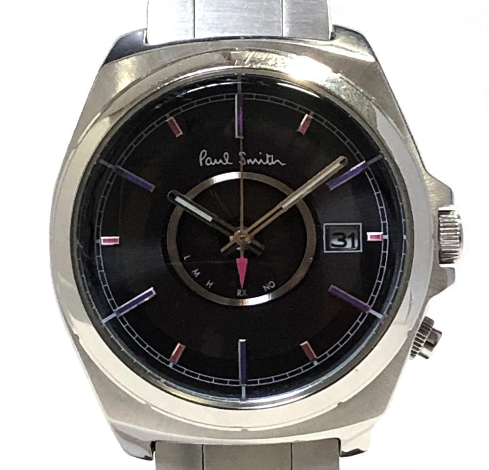 ポール スミス 腕時計 H416-T02087 時計 メンズウォッチ アナログ 電波時計 9 電波ソーラー ブラック文字盤 SS メンズ 紳士用 Paul Smith 【中古】