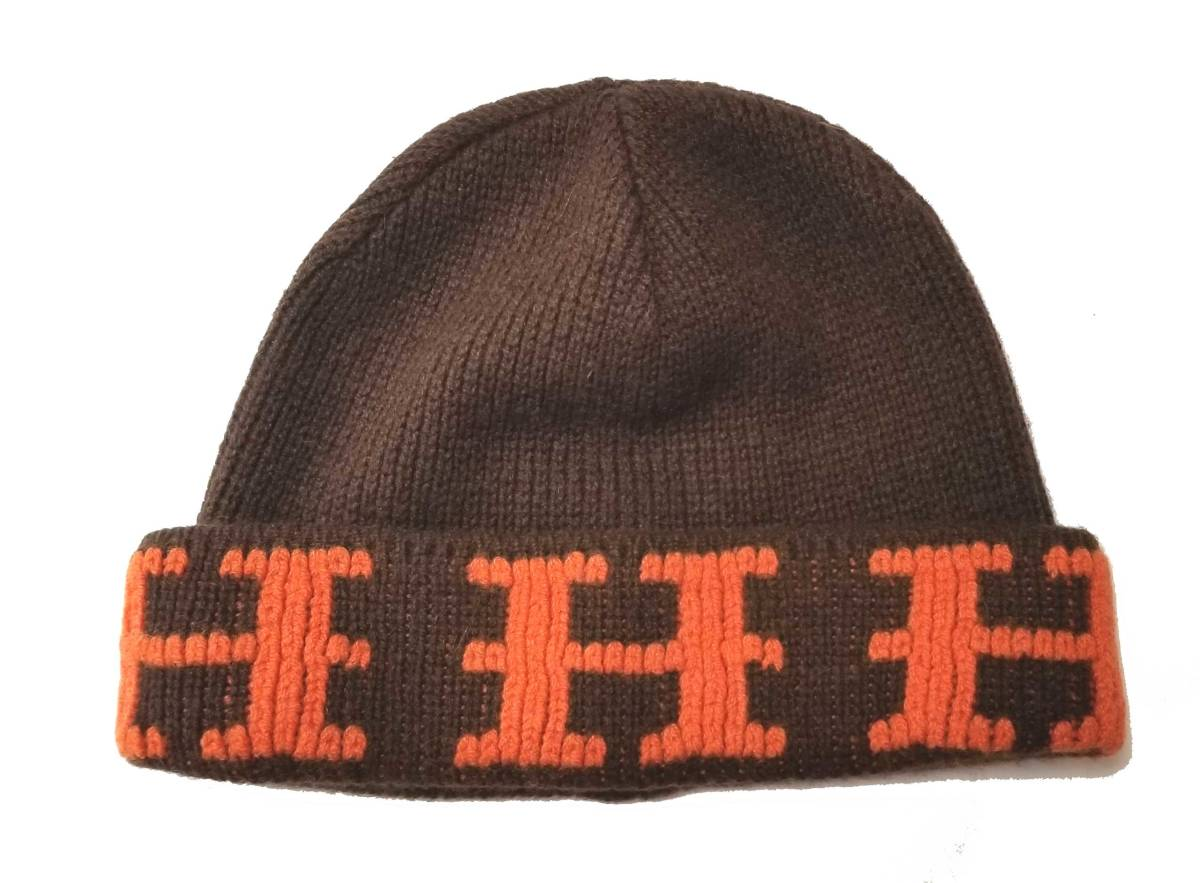 新品同様 エルメス 帽子 ニット帽 ニットキャップ ME オレンジ ブラウン ME 茶色 ニット帽子 Hマーク HERMES メンズ レディース 【中古】