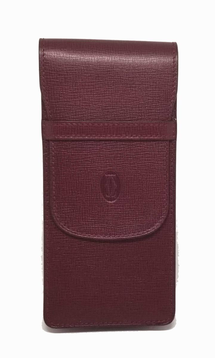 カルティエ ペンケース マスト ボルドー C2 Cartier メンズ レディース L3000186 美品 【中古】