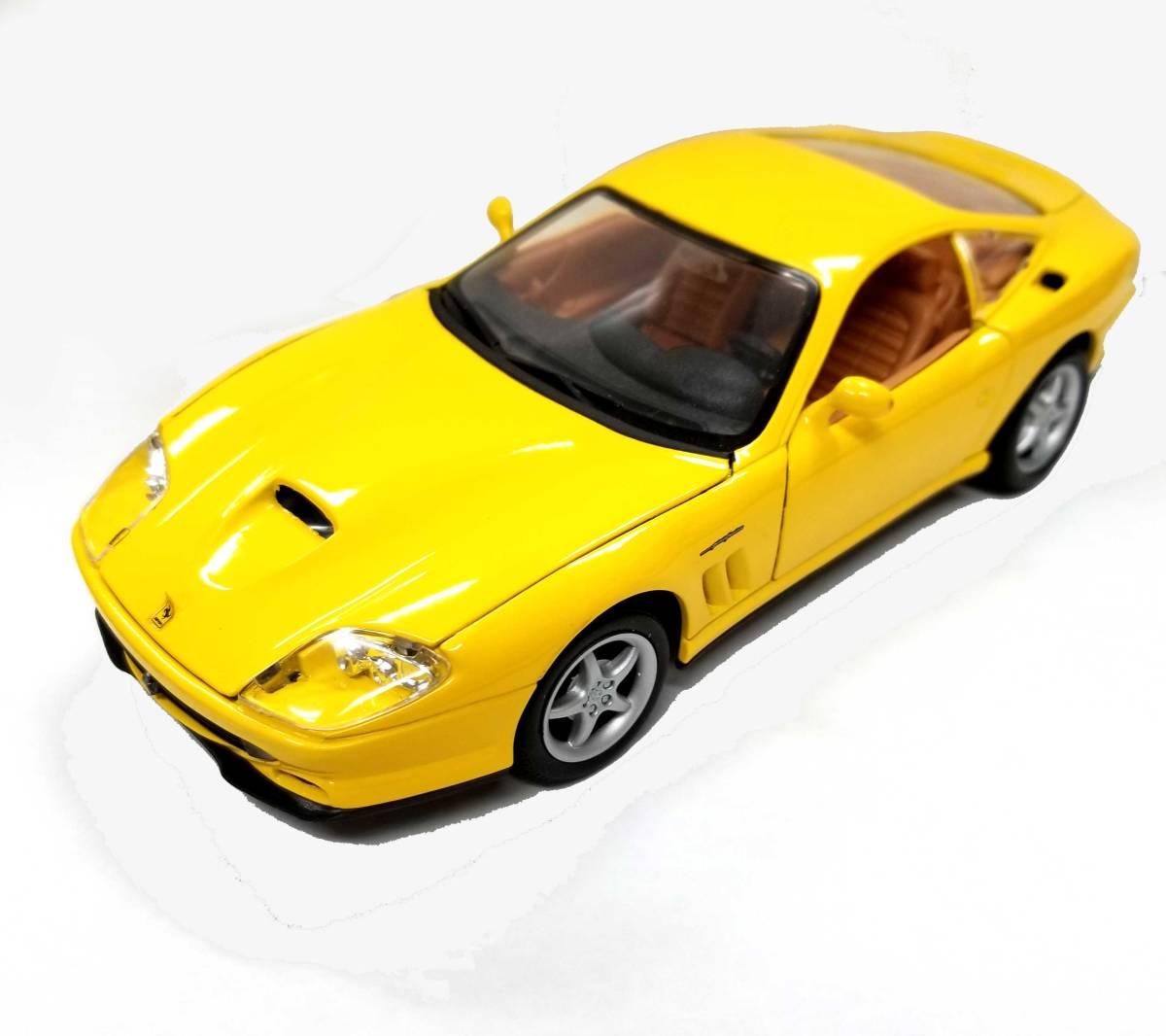 フェラーリ モデルカー フェラーリマラネロ maisto ferrari 550 maranello yellow 1/24 イエロー Ferrari ホイール付き 黄色 ミニカー 【中古】
