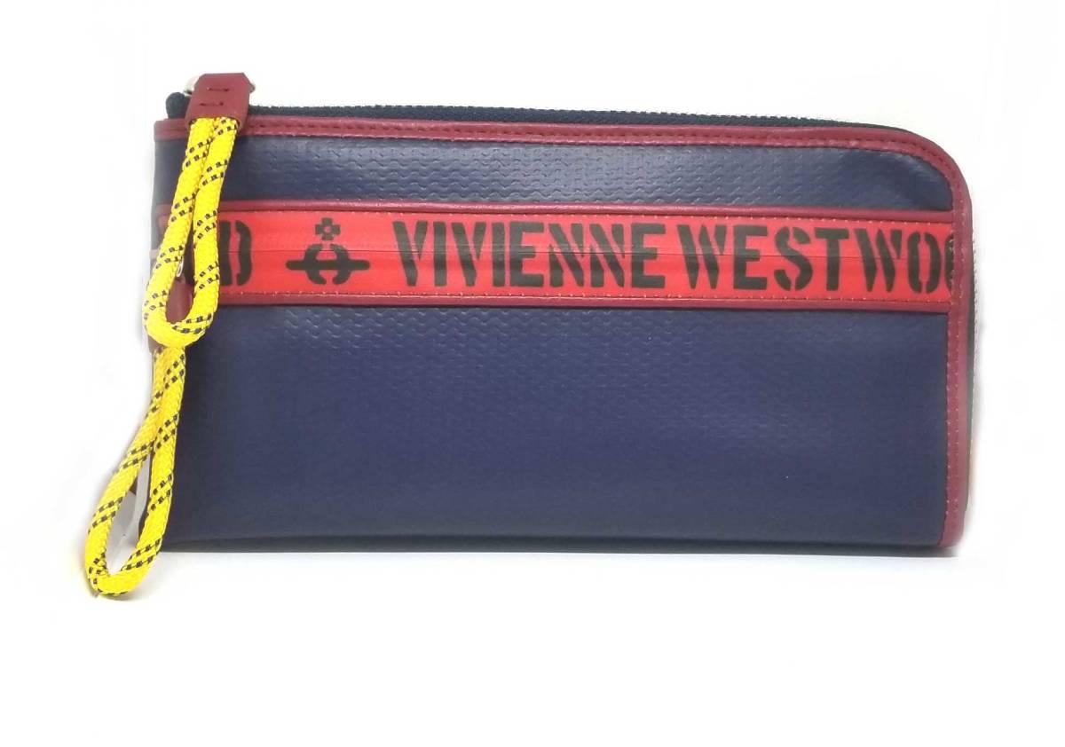 新品 未使用 ヴィヴィアンウエストウッド Vivienne Westwood 長財布 L字ジップ 財布 ネイビー 紺 レッド 赤 ファスナー ロゴ オーブ メンズ VWK381 【中古】