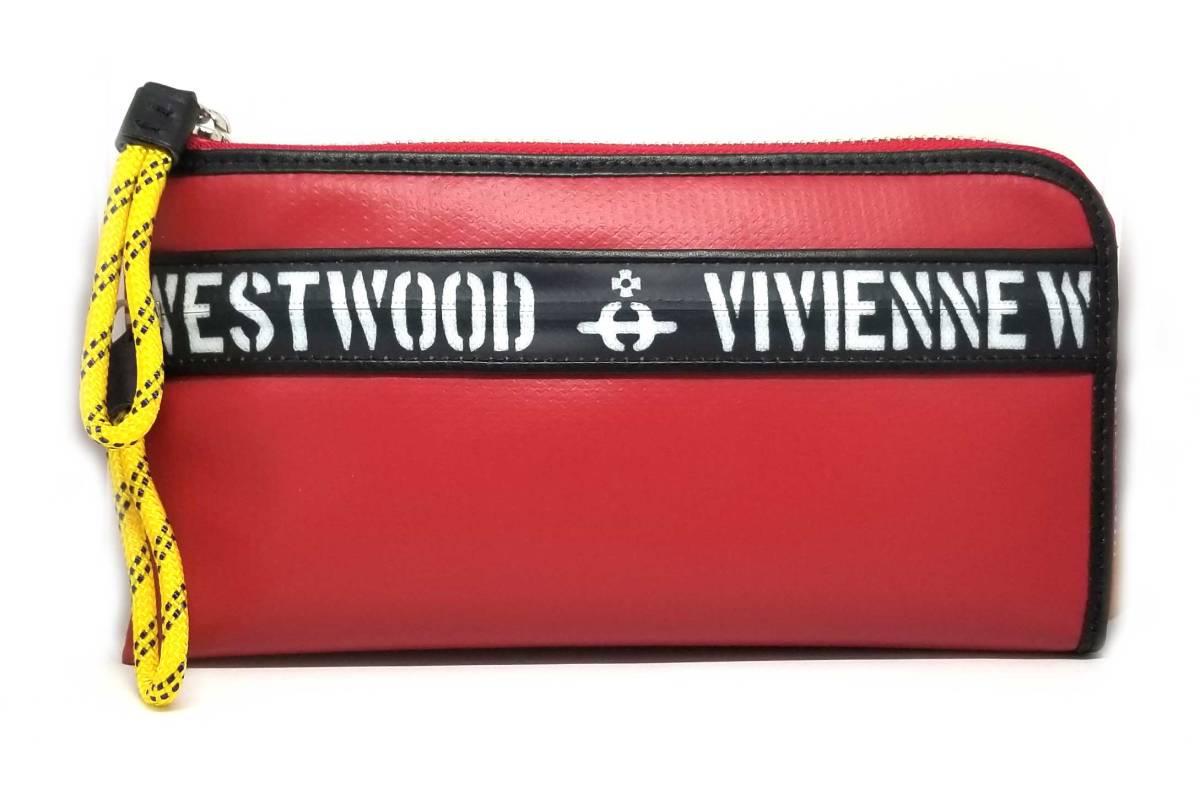 新品 未使用 ヴィヴィアンウエストウッド Vivienne Westwood 長財布 L字ジップ 財布 レッド 赤 ブラック 黒 ファスナー ロゴ オーブ メンズ VWK381 【中古】