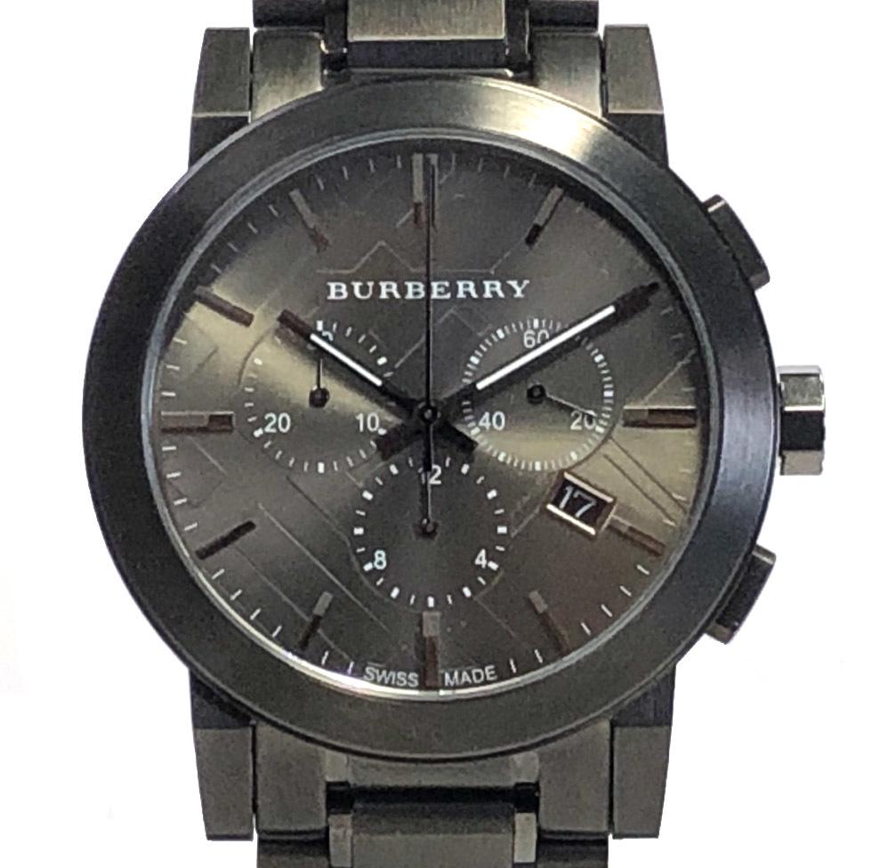 新品同様 バーバリー 腕時計 BU9354 時計 クロノグラフ メンズ ウォッチ ガンメタ 紳士用 チェック ブラック系 メンズウォッチ BURBERRY 【中古】