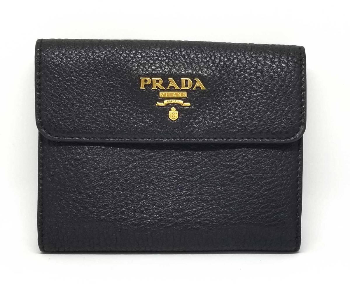 美品 プラダ 財布 二つ折り ブラック 黒 1M0523 カード付 レザー NERO コンパクト レディース メンズ PRADA 【中古】