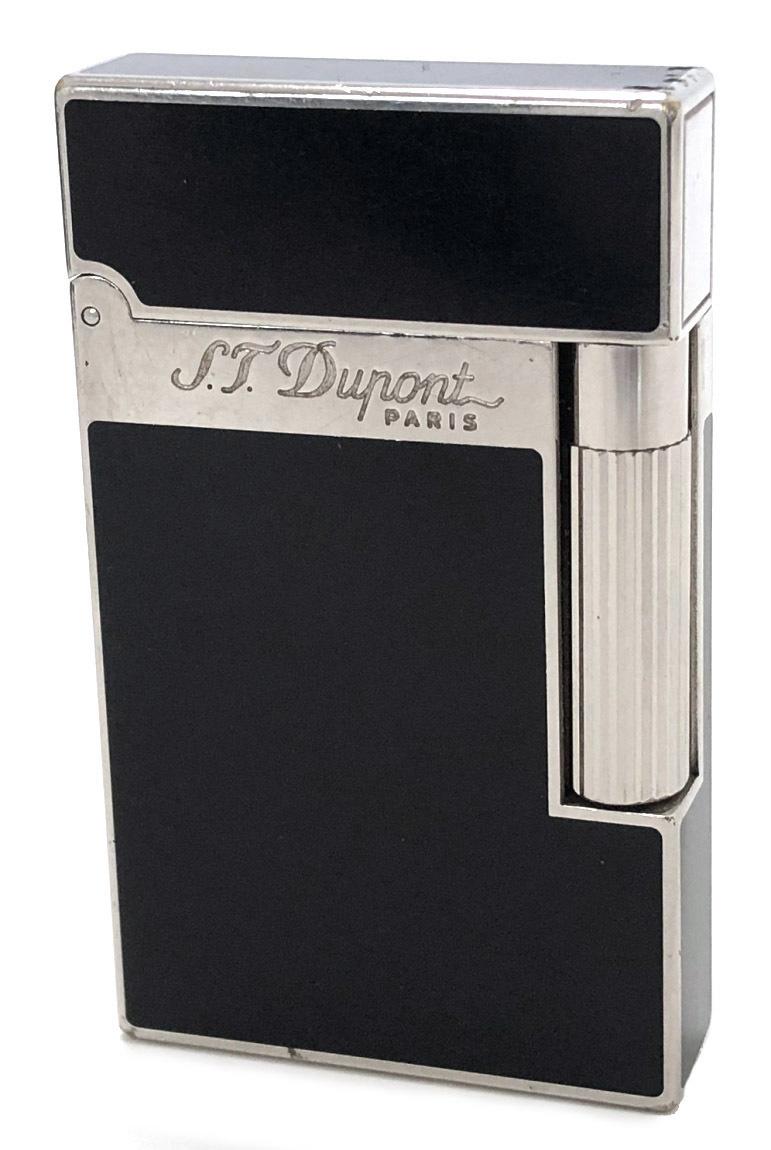 デュポン ライター LINE2 ライン2 モンパルナス ダブルバーナー Wバーナー ローラーガスライター ブラック シルバー 漆 16296 S.T.Dupont 【中古】