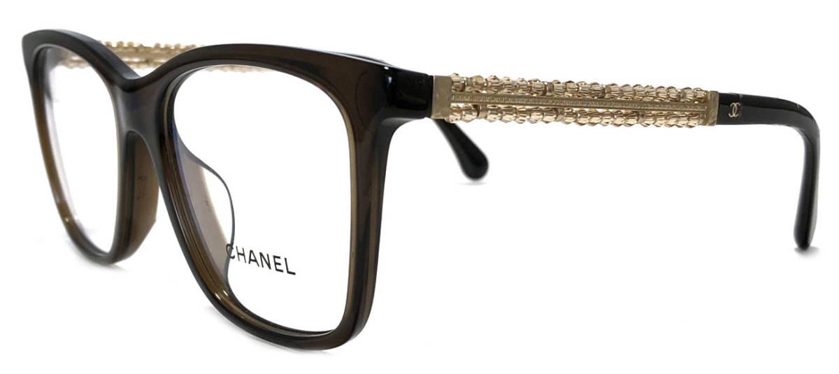 未使用 シャネル メガネフレーム 3362 メガネ 眼鏡フレーム ブラウン ビーズ ココマーク めがねフレーム めがね 茶色 レディース 伊達眼鏡 【中古】