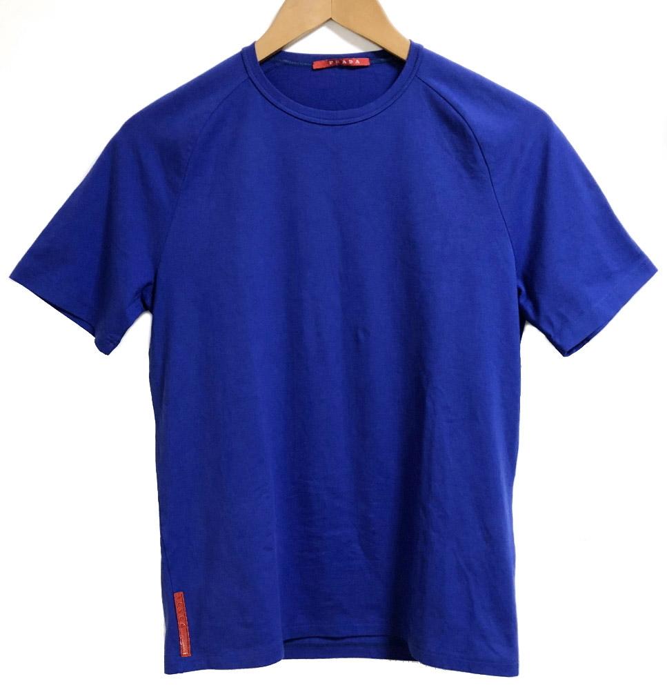 新品同様 プラダ Tシャツ プラダスポーツ ブルー トップス 青 プラスポ #S メンズ ロゴ コットン 綿 紳士用 Sサイズ PRADA SPORTS 【中古】