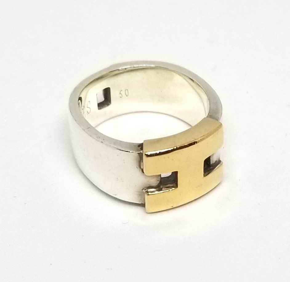 エルメス ヘラクレス リング コンビ 指輪 50 シルバー SV925 ゴールド 750YG Hモチーフ HERMES 【中古】
