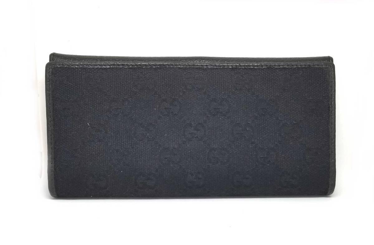グッチ 二つ折り 長財布 GG ブラック 黒 GGキャンバス メンズ レディース 小さめ GUCCI 財布 美品 【中古】