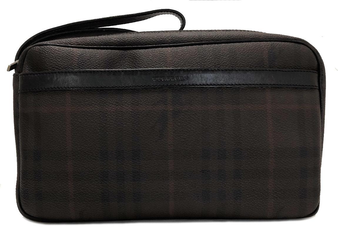 バーバリー セカンドバッグ PVC レザー ブラウン チェック 茶色 本革 メンズ ストラップ付 ビジネスバッグ 紳士用 バッグ BURBERRY 【中古】