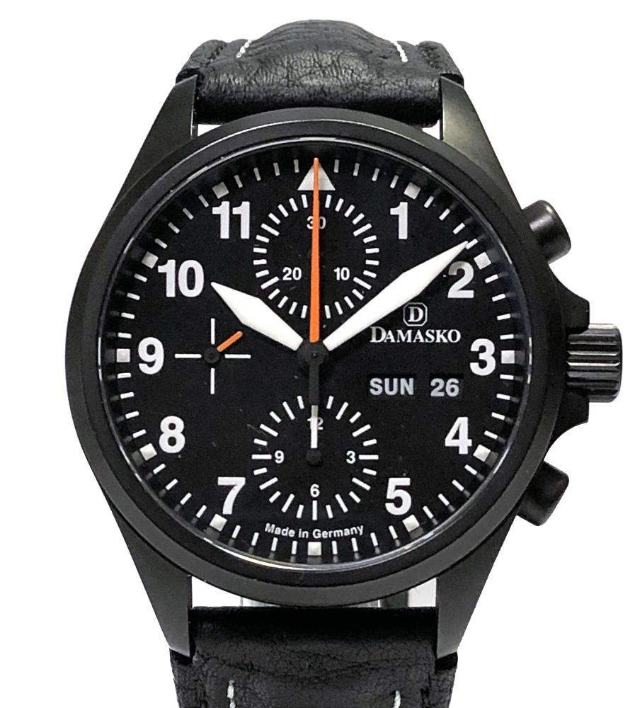 新品同様 DAMASKO 時計 クラシックパイロットクロノグラフ DC56 CLASSIC PILOT ブラック ダマスコ メンズ バルジュー7750 黒 紳士用 自動巻き 腕時計 メンズウォッチ 【中古】