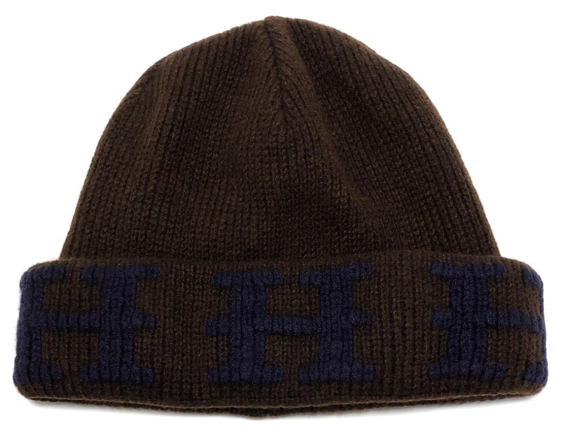 新品同様 エルメス ニットキャップ 帽子 Hロゴ ニット帽 #LA ネイビー ブラウン 紺 茶色 カシミヤ Hマーク メンズ レディース 紳士用 Lサイズ HERMES 【中古】