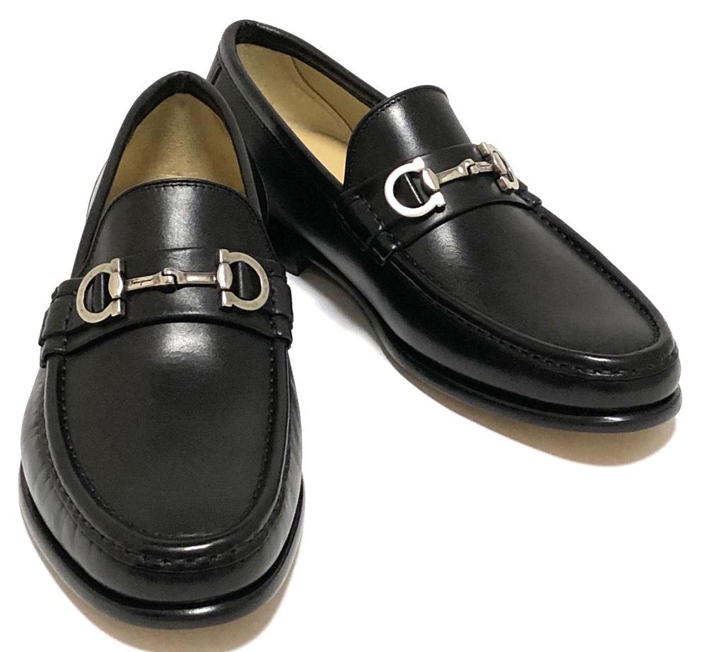 未使用 フェラガモ ガンチーニ レザーシューズ 靴 革靴 ブラック GIOSTRA #7 EEE ビジネスシューズ メンズ ローファー 黒 Salvatore Ferragamo FERRAGAMO 【中古】