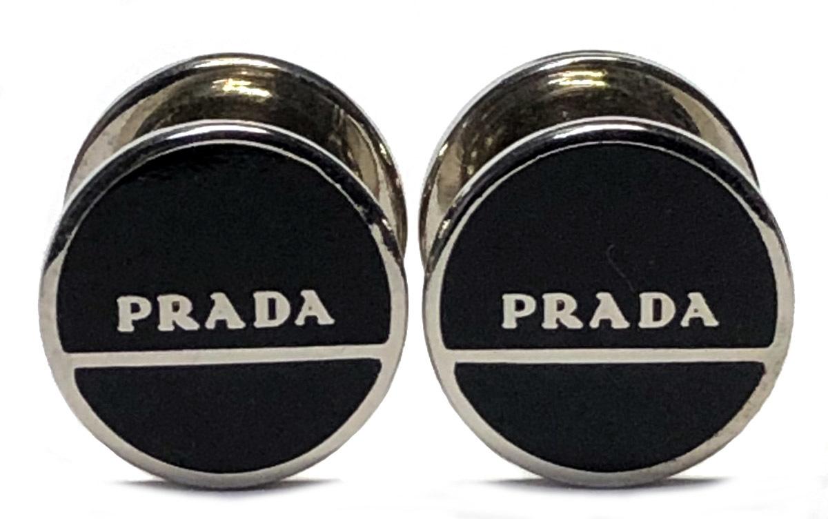 プラダ カフス ロゴ ブラック シルバー ホック式 カフリンクス 黒 カフスボタン メンズ アクセサリー メタル PRADA 【中古】