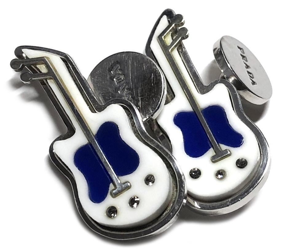 プラダ カフス ギター ロゴ シルバー SV925 カフリンクス メンズ アクセサリー カジュアル 白 ホワイト シルバー925 PRADA 【中古】