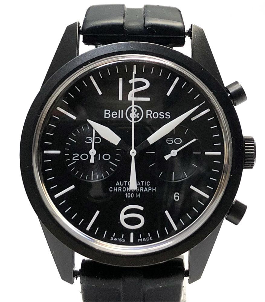 ベル&ロス 時計 ヴィンテージ ウォッチ オリジナルカーボン クロノグラフ BR126 SS ラバー ブラック AT 自動巻き メンズ Bell&Ross BR126-94 ベルロス【中古】