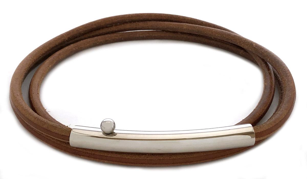 エルメス 太い レザー チョーカー ネックレス デザイン 個性的 8mm 三重 3重 メンズ レディース シルバー ロゴ アクイセサリー HERMES 【中古】