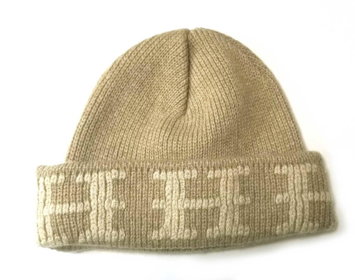 美品 エルメス 帽子 ニット帽 ニットキャップ ME ベージュ ME ニット帽子 Hマーク HERMES メンズ レディース 【中古】