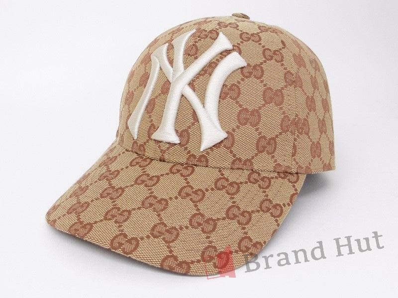 c1ef0d45d GUCCI Gucci New York Yankees patch baseball cap GG canvas brick red X beige  539836 4HF16 8300 NS rank men gap Dis hat hat NY