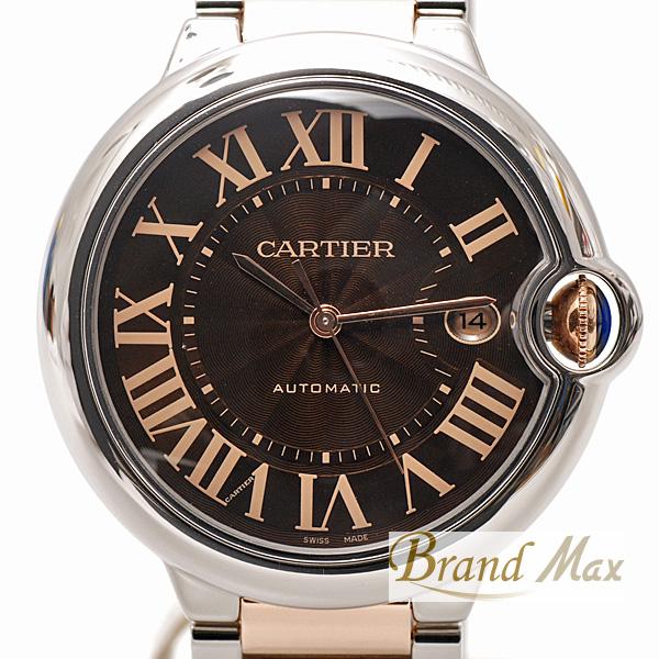 カルティエ Cartier バロンブルーLM SS×PG W6920032 ブラウン文字盤【中古】