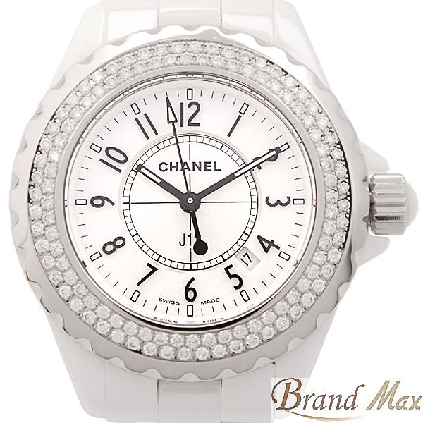 2020高い素材  シャネル CHANEL J12 ホワイト セラミック ダイヤベゼル クォーツ レディース H0967 33mm【】, 大きいサイズの店ビッグエムワン a530c2f6