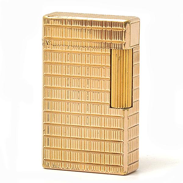デュポン S.T.Dupont ライン1 ガスライター 格子柄 ゴールド OH済 AB級品【中古】