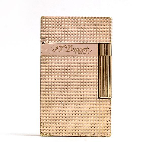 デュポン/S.T.Dupont/ローラガスライター/ライン2/ダイヤモンドヘッド/ゴールドカラー/OH済/AB級品【中古】