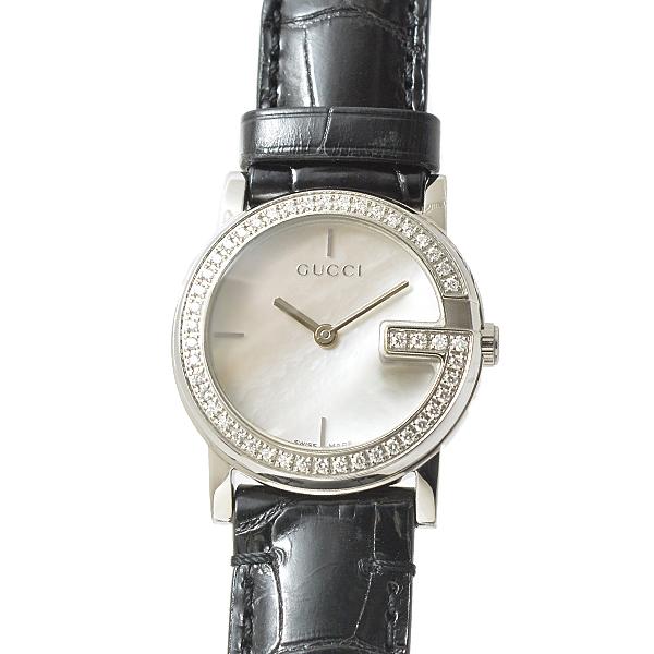 グッチ GUCCI SS 101L Gモチーフ ダイヤベゼル腕時計 シェル文字盤 レディース クオーツ A級品【中古】
