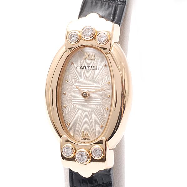 カルティエ Cartier 750YG ミニ ベニュワール ナティバ ロゼ 6Pダイヤ シルバー WB504231 クォーツ 電池式【中古】