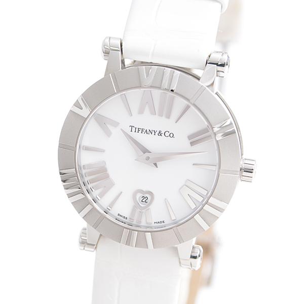 ティファニー TIFFANY SS アトラス 腕時計 ホワイト文字盤 白 クォーツ 革ベルト Z1300.11.11A20A71A【中古】