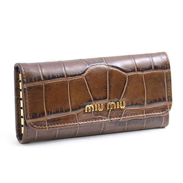 ミュウミュウ MIU MIU クロコダイル型押し カーフ 6連キーケース ブラウン 5M0223【未使用展示品】
