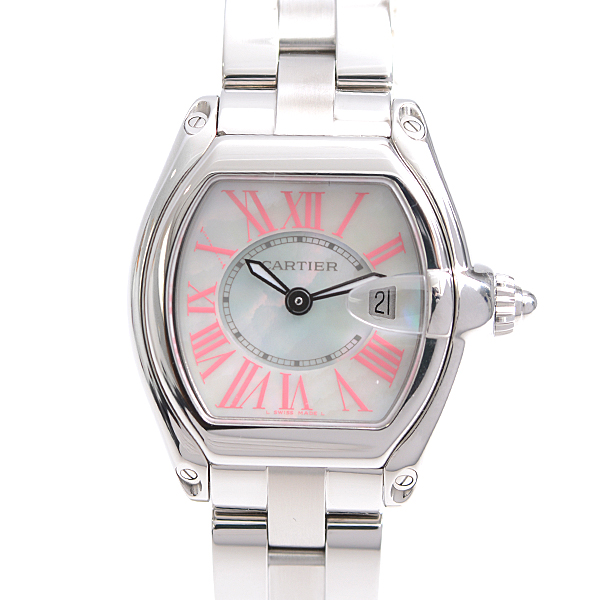 カルティエ Cartier SS ロードスター ミニ 2008年 クリスマス限定 ホワイトシェル ピンク クォーツ レディース 時計 W6206006【中古】