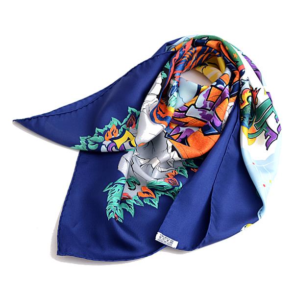 エルメス HERMES シルク100% THE ALFEE AUBE25 スカーフ カレ ブルー×マルチカラー クリーニング済【中古】