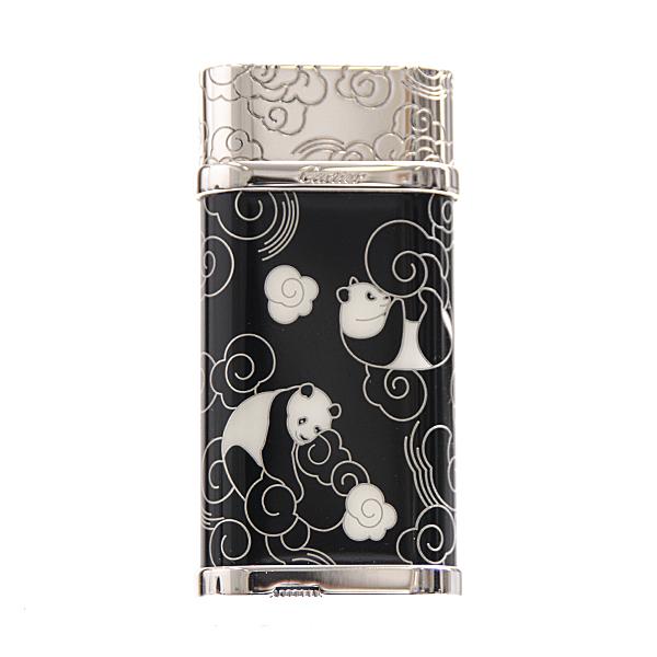 カルティエ Cartier 真鍮 パンダデザイン オーバル ガスライター 希少 国内正規店購入 オーバーホール済 【中古】