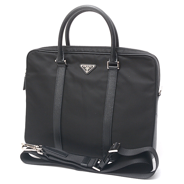 プラダ PRADA ナイロン×カーフ 2WAY・2ウェイビジネスバッグ 2VE368 ブラック【未使用展示品】