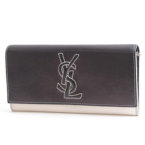 イブサンローラン Yves Saint Laurent カーフ フラップ開閉式長財布 ブラック×ホワイト 271149【中古】