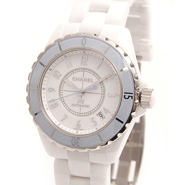 シャネル CHANEL CE セラミック 腕時計 自動巻 J12 ソフトブルー メンズ ホワイト H4341【未使用展示品】