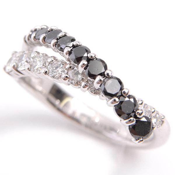 【上品】 K18WG クロスデザイン ダイヤモンド×ブラックダイヤモンド リング 12.5号 1.00ct レディース ホワイトゴールド【】, 激安 てれび館 992ab93c