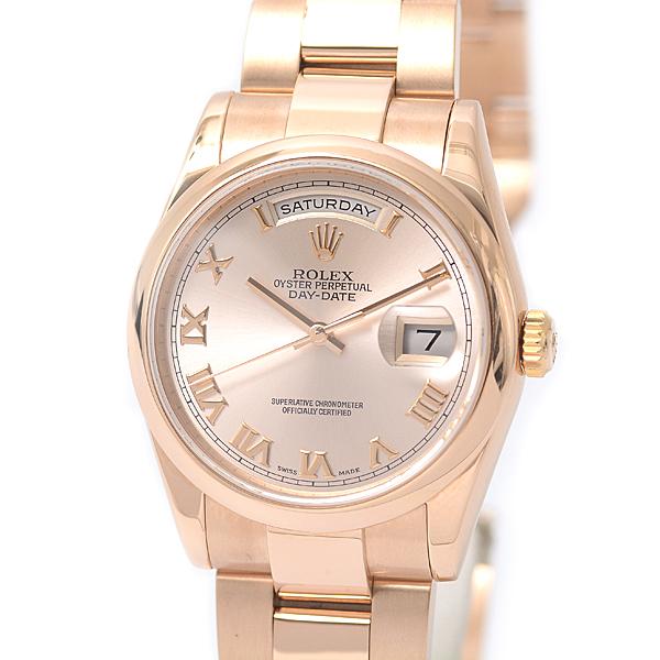 ロレックス ROLEX 750PG デイデイト 118205 自動巻 メンズ 腕時計 ピンクゴールド P番 無垢 OH・P済【中古】