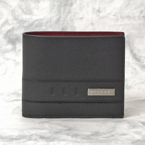 ブルガリ BVLGARI ブルガリバックル 二つ折り財布 メンズ ブラック【未使用展示品】